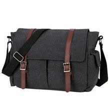 лучшая цена Vintage Men Messenger Bags Canvas Shoulder Bag Fashion Business Crossbody Bolsas Maleta Travel Handbag  XA194K