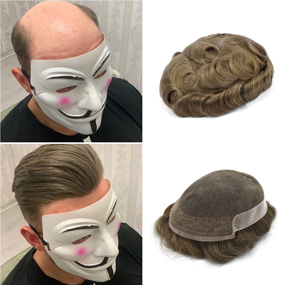 BYMC Mens Toupee French Lace With PU Wig 6inch Remy Indian Hair Replacement System Human Hairpieces Toupee For Men