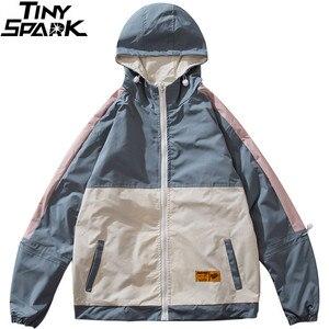Image 3 - Männer Hip Hop Jacke Streetwear Retro Vintage Farbe Block Mit Kapuze Jacke Windjacke Harajuku 2020 Track Jacken Mantel Hoodie Herbst
