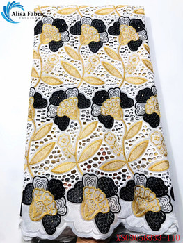 Alisa African Lace Cotton Fabrics 5 Yards/pcs Latest Swiss Voile Lace Fabrics With Embroidery For Home Decoration XS03058333-110
