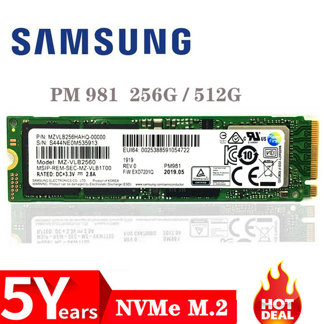 SAMSUNG SSD M.2 PM981 256GB 512GB disco duro de estado sólido M2 SSD NVMe PCIe 3,0x4 NVMe disco interno de ordenador portátil duro TLC PM 981 1TB