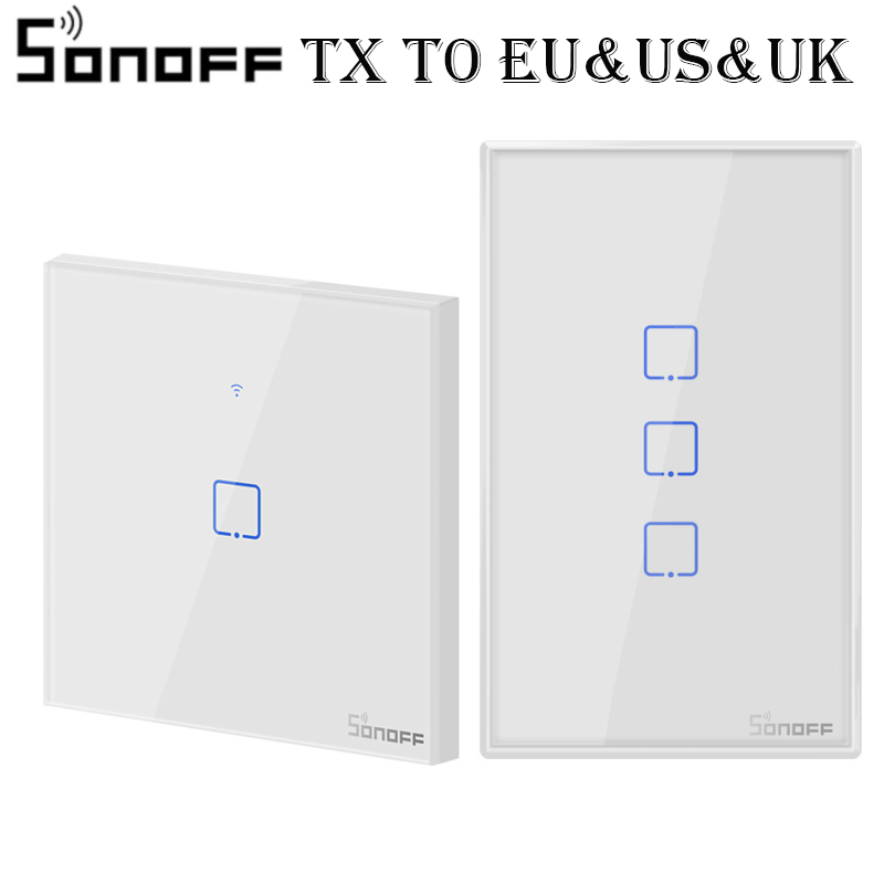 SONOFF T0 TX  EU/UK/US 1/2/3 Gang Wall Light Switch Smart Wifi Panel Wireless Remote Touch/Ewelink/Voice Control Google Home