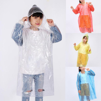 10pc Children's Disposable Adult Emergency Waterproof Rain Coat With Hat Hiking Camping Portable Rain Cape Poncho Hooded 2021