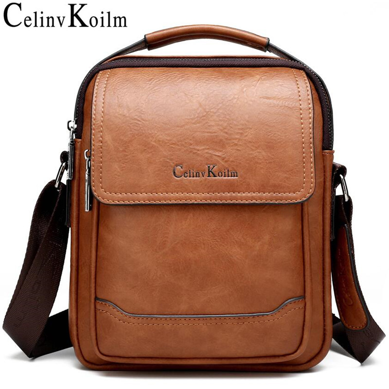 Celinv Koilm Brand Men Bags 100% High Quality Leather Shouder Messenger Bag For Man Fashion Causal Crossbody Tote Bags New Style