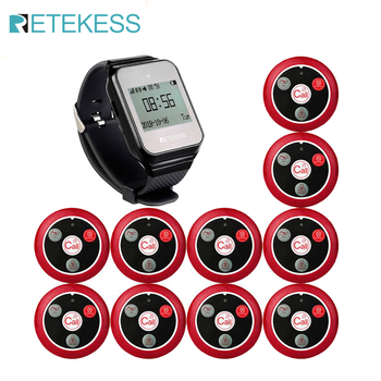 Retekess Restaurant Pager Wireless Waiter Calling System TD108 Watch Receiver+10 T117 Call Button For Customer Service Clinic customer service paging call calling system for pub bars 1pc numeric monitor and 5 call bells