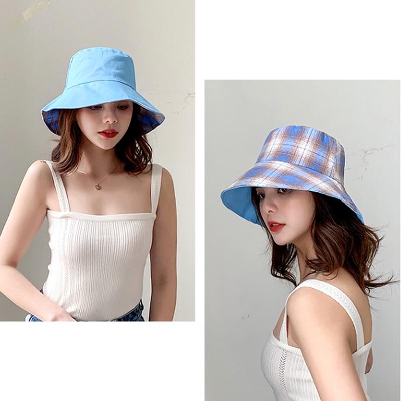 Women  Outdoor Travel Hat Sun Cap Hats Korean Version Cotton Double Sided Plaid Bucket Hat Fisherman Hat