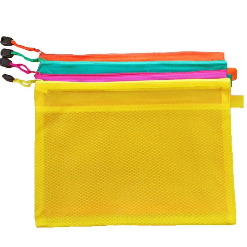 1 Pcs A5 Plastic Zipper Paper File Folder Book Pencil Pen Case Bag File Document Bag For Office Student Supply