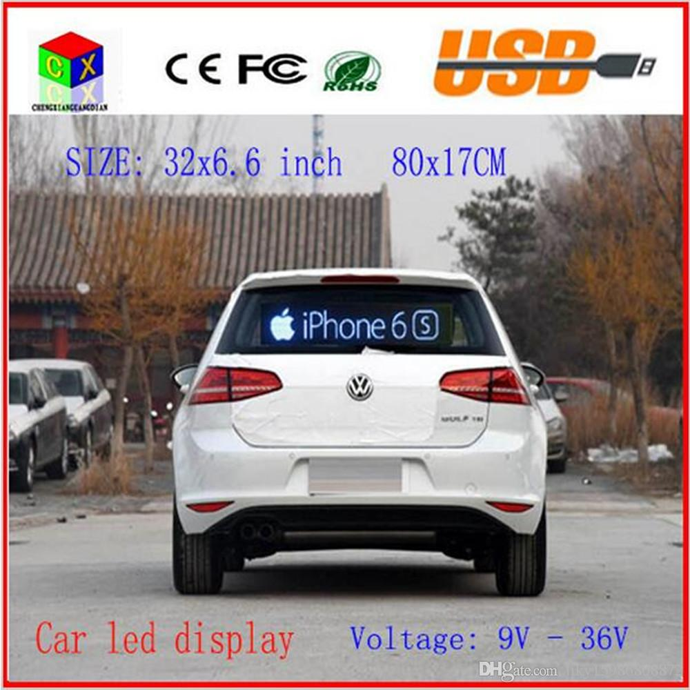 Electric Display Text Image Logo Board New Indoor 80X17CM SMD RGB Full Color P4 LED Car Sign