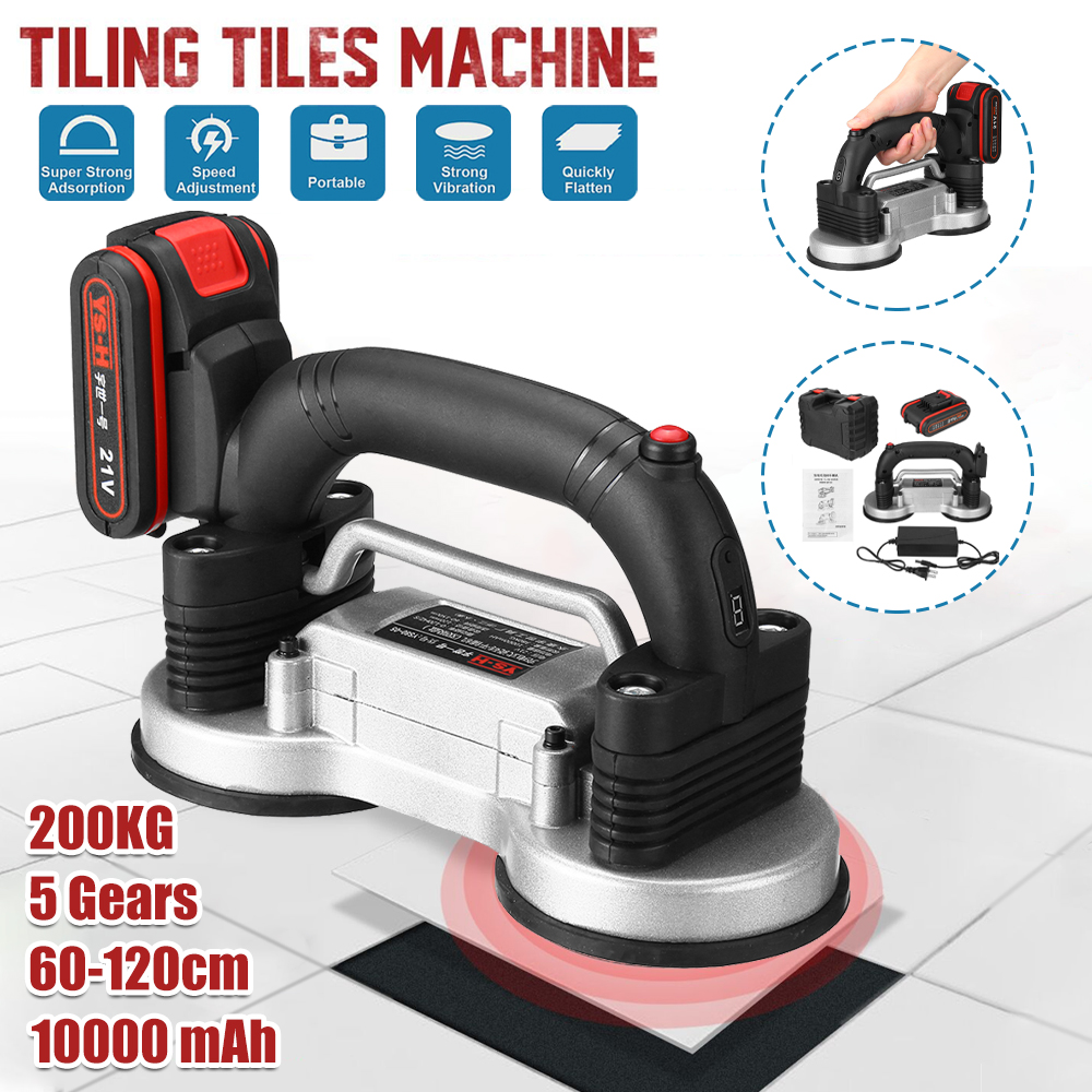 110V-220V Tiling Tiles Machine 60-120mm Tile Vibrator Suction Cup Adjustable Automatic Floor Vibrator Leveling Tool With Battery