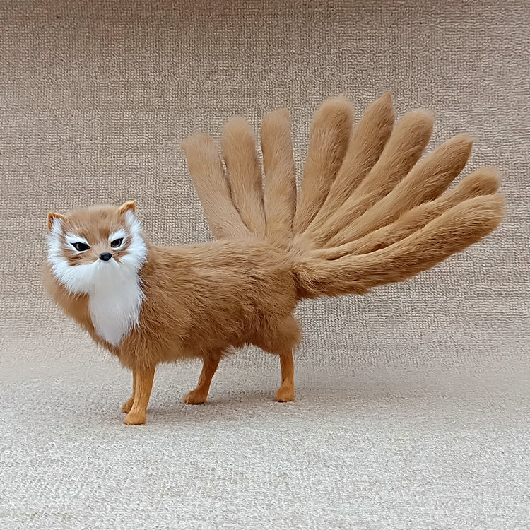 yellow real life fox model plastic&furs simulation nine-tails fox doll gift about 38x10x15cm xf2825