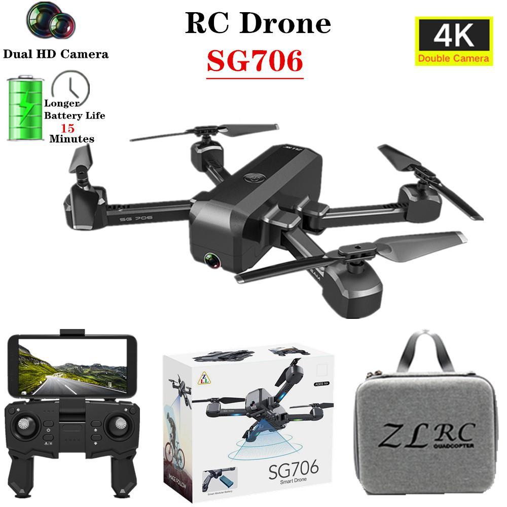 SG706 Drone 4K HD double caméra Selfie pliable quadrirotor garder la hauteur de vol hélicoptère SG706 VS KF607 XS809S XS816 GD89