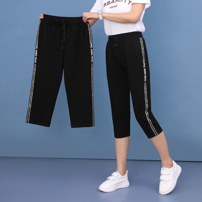 capri pants women sweat joggers 2020 summer korean style high waist Sweatpants plus size black classic trousers casual bottom