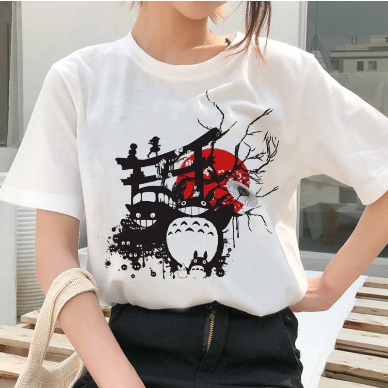 Totoro <font><b>Spirit</b></font> <font><b>Away</b></font> T Shirt Studio Ghibli Femme Japanese Cartoon Anime Women <font><b>Tshirt</b></font> T-shirt Miyazaki Hayao Clothes Female Kawaii image
