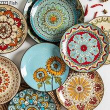 Plato creativo pintado a mano de cerámica japonesa vajilla Vintage y placa de viento disco coreano para comedor en casa plato de carne
