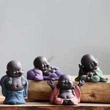 Cerâmica maitreya buda estátua maitreya buda chá pet casa de chá ornamentos cerâmica decoração para casa escultura plantas decoração