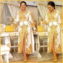 Bazin Robe Dress Abaya African Dashiki Muslim Broder Gowns Silk Sexy Hijab Print Riche