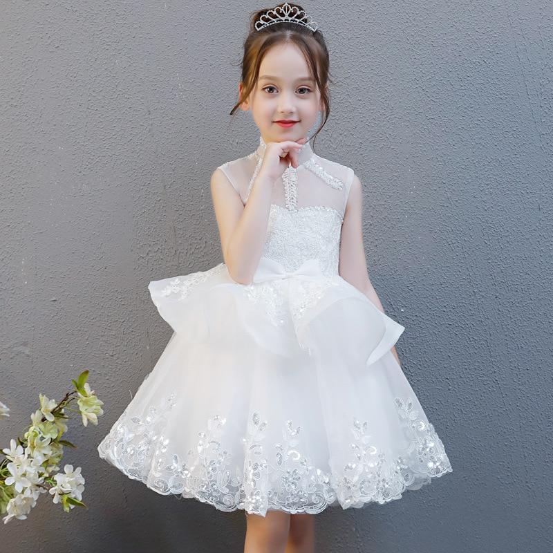 Girls Wedding Dress Children Birthday Evening Gown Princess Dress Puffy Yarn Flower Boys/Flower Girls Piano Costume Small Host A