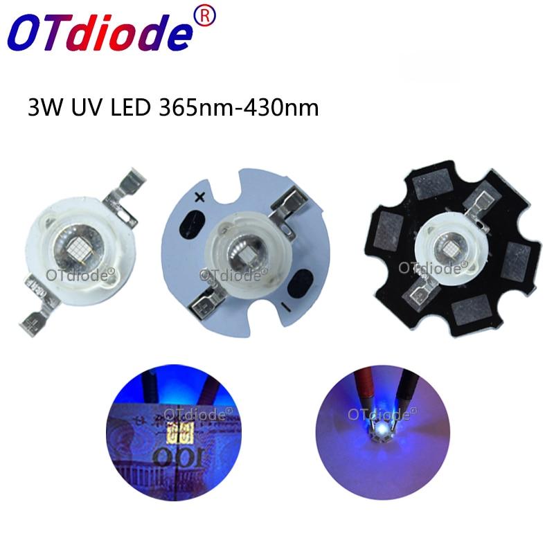 10 UV 5050 LED SMD 3-Chip//SOP 6 HighPower ultra-violetto Luce Nera LED