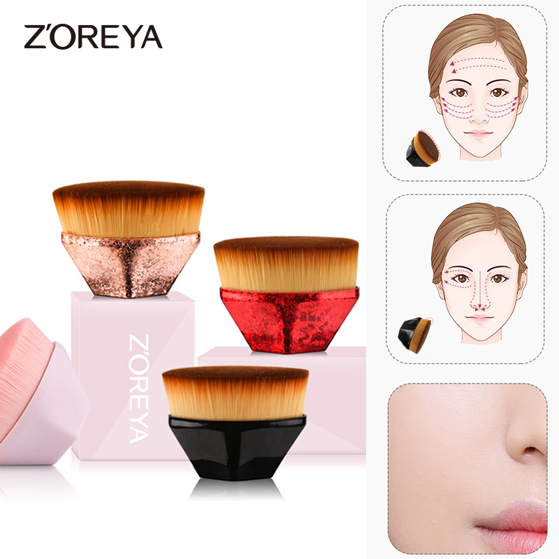 Brocha de maquillaje Zoreya base plana Kabuki hexágono cara rubor en polvo brocha de base para crema o cosméticos en polvo impecable|rizador de pestañas|   - AliExpress
