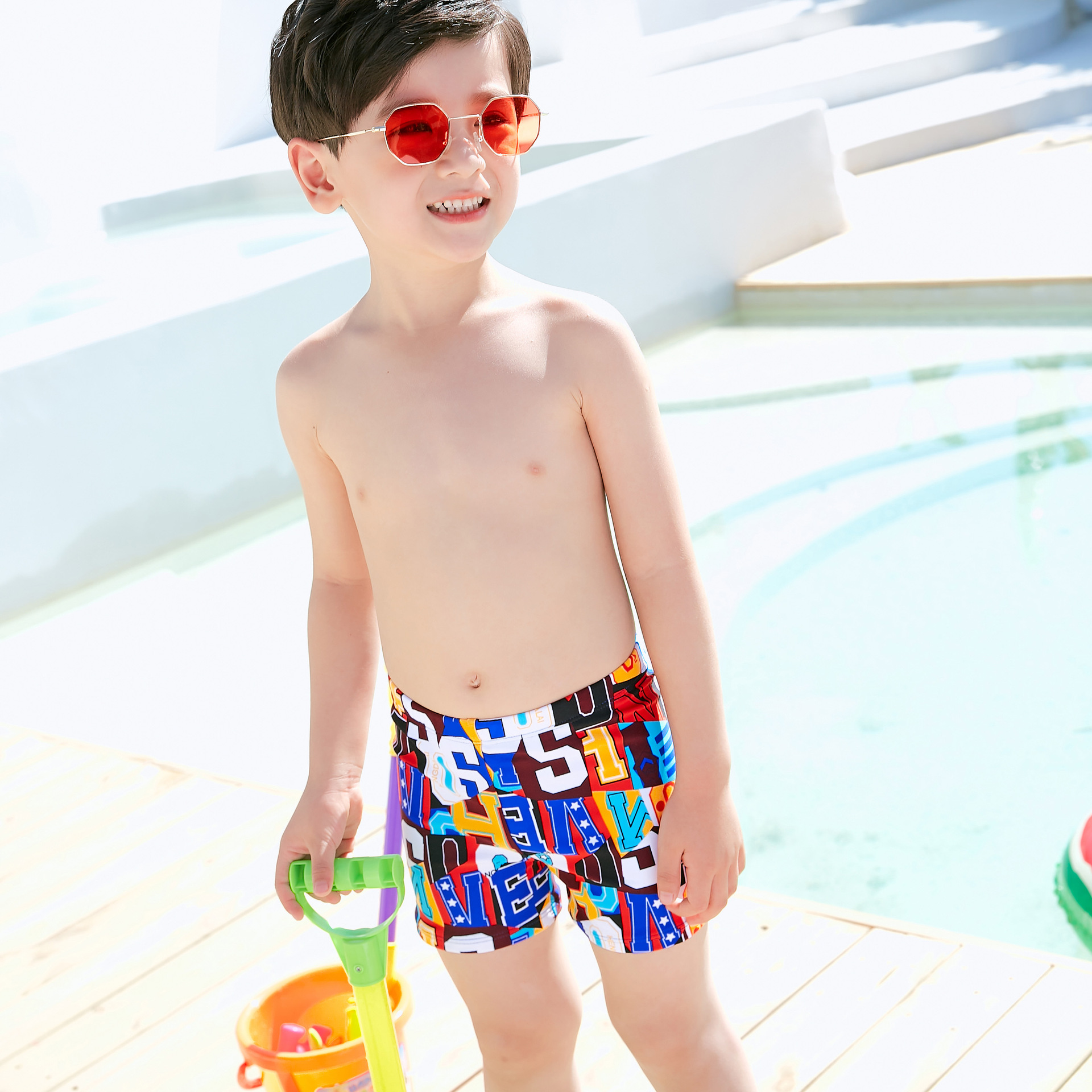 Dai Xi Si BOY'S Swimming Trunks 2019 New Style Men's Small CHILDREN'S Boxer Loose-Fit-Style Swimming Trunks With Swim Cap 9918
