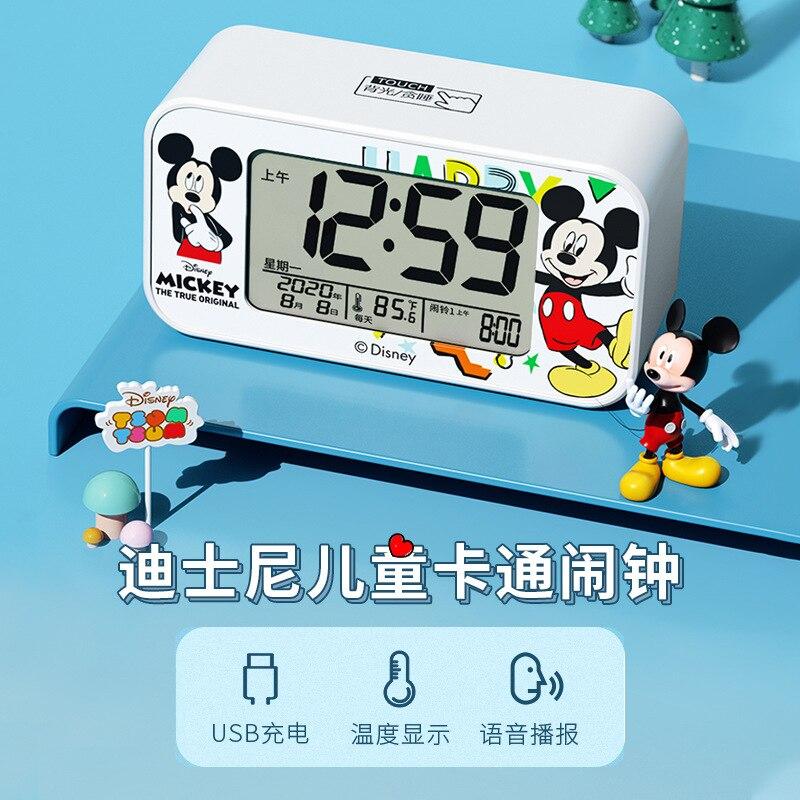 Disney Original +Перезаряжаемый Электронный Маленький Будильник Часы% 2C Интеллектуальный Многофункциональный Бесшумный Студент Прикроватный Часы