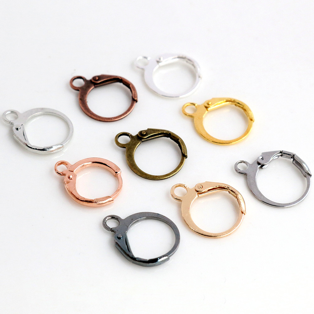 14x12mm 30pcs High Quality Silver Color Rose Gold Color Bronze Rhodium French Earring Hooks Wire Settings Base Whole Sale