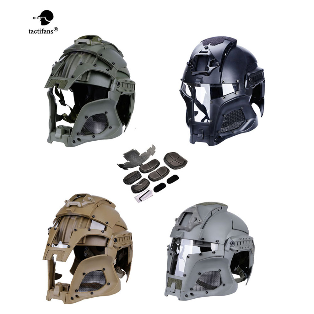 2019Tactical Military Ballistic Helmet Side Warrior Airsoft  PC Lens Tactical Helmet Full-Covered Helmets Accessore Shrouder