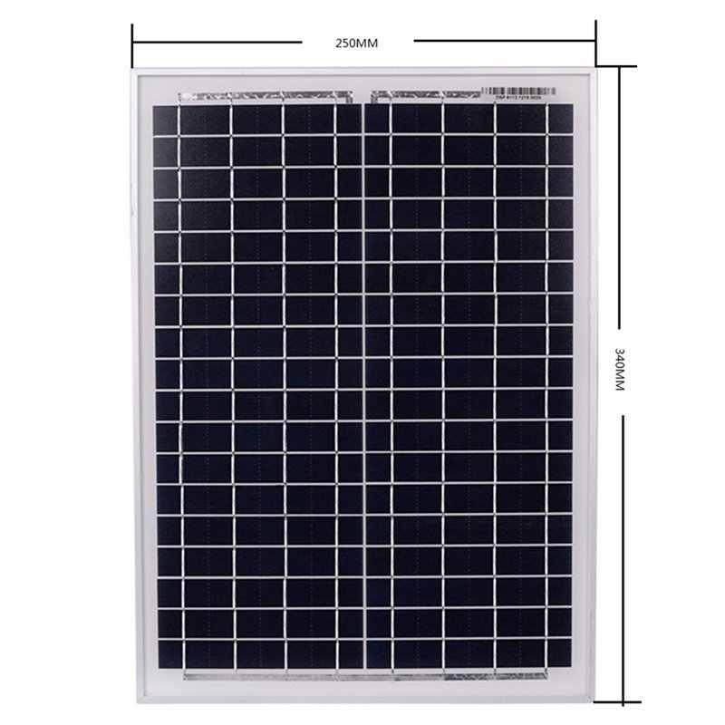 ソーラーパネル 18V20W 黒ソーラーパネル + 12 V/24 V ソーラーコントローラと Usb インタフェースバッテリー旅行電源供給 (50A)