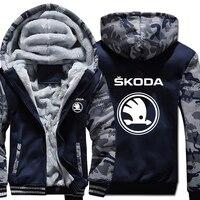 Skoda Hoodies Winter Camouflage Sleeve Jacket Men Wool Liner Fleece Skoda Logo Sweatshirts