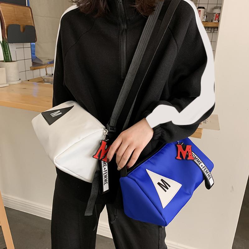 Fashion Shoulder Crossbody Bags Unisex Nylon Letter Triangle Printing Splicing Messenger Bag For Women Men Sport Street Handbags