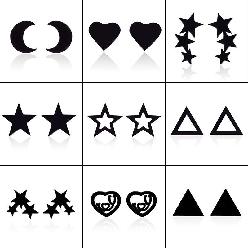 Серьги-гвоздики из нержавеющей стали для женщин и мужчин, ювелирные украшения с черными звездами, сердцами и геометрическими фигурами, аксе...