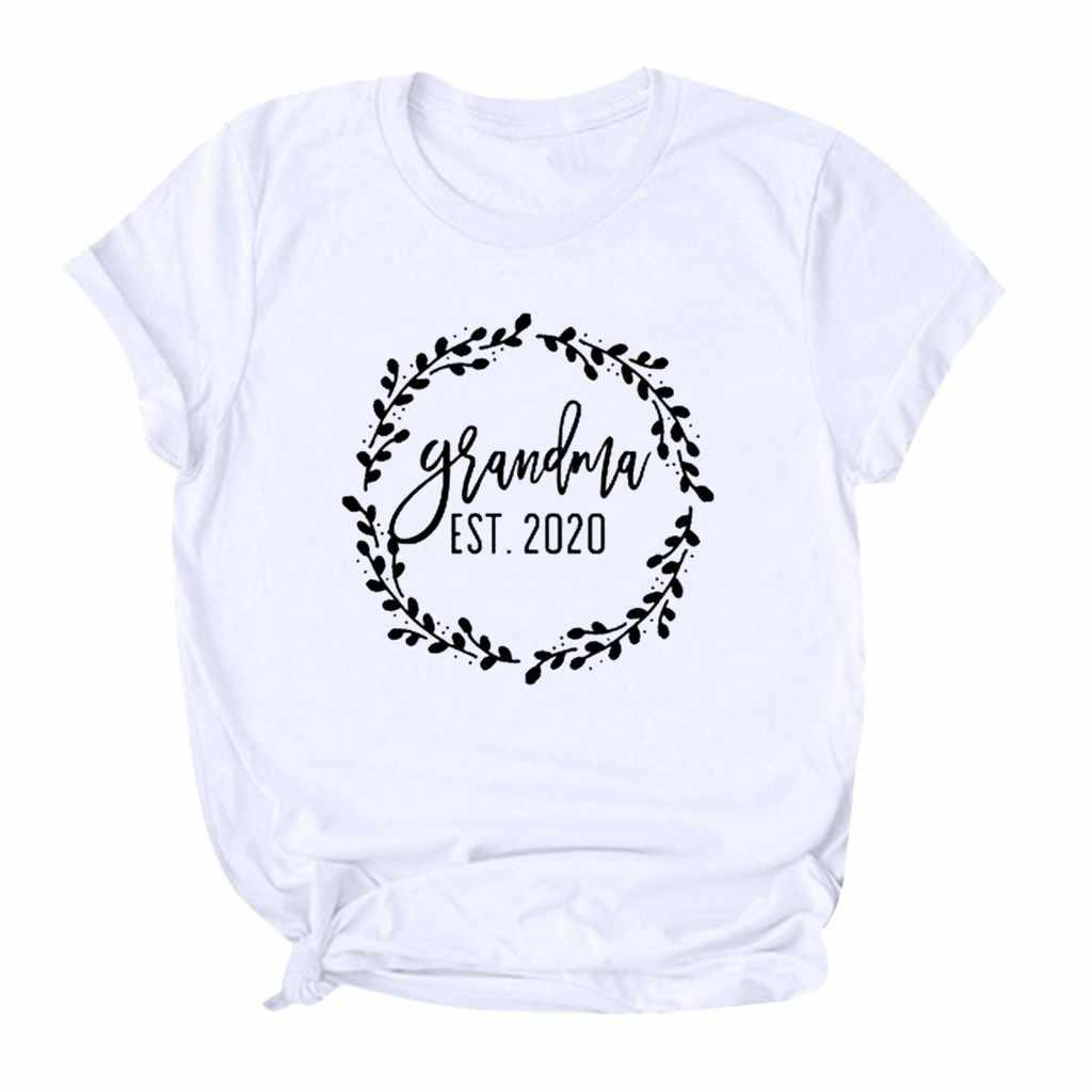 Oma Est 2020. Frauen Mutter der Tag Brief Drucken Kurzarm T-Shirt T