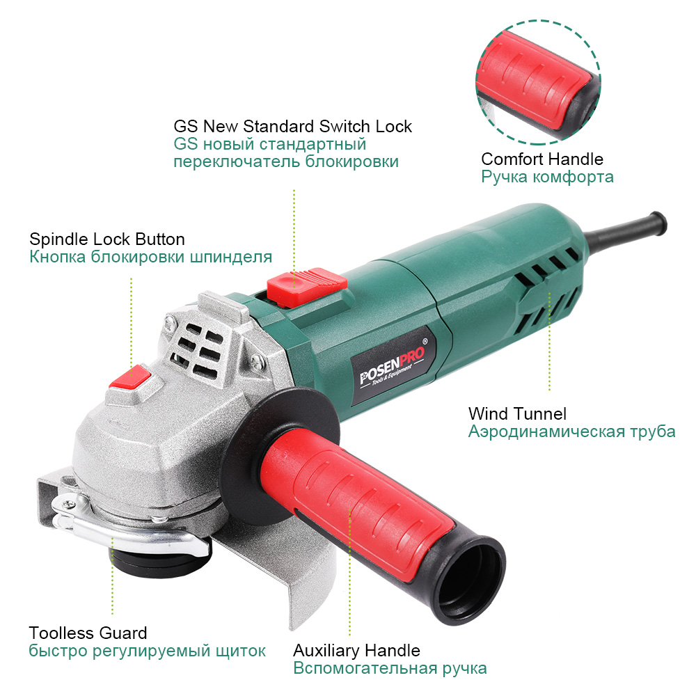 Tools : Electric Angle Grinder 125mm 1100W Variable Speed 12000RPM Toolless Guard for Cutting Grinding Metal Stone Work POSENPRO
