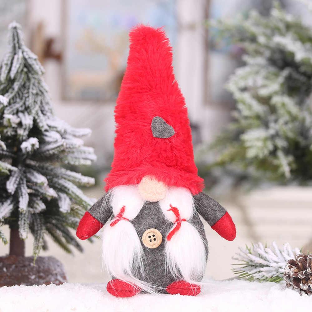 Feliz Natal Santa Longo Chapéu Sueco Gnome Elf Enfeites de Boneca De Pelúcia Feitos À Mão Brinquedo de Férias Partido Home Decor