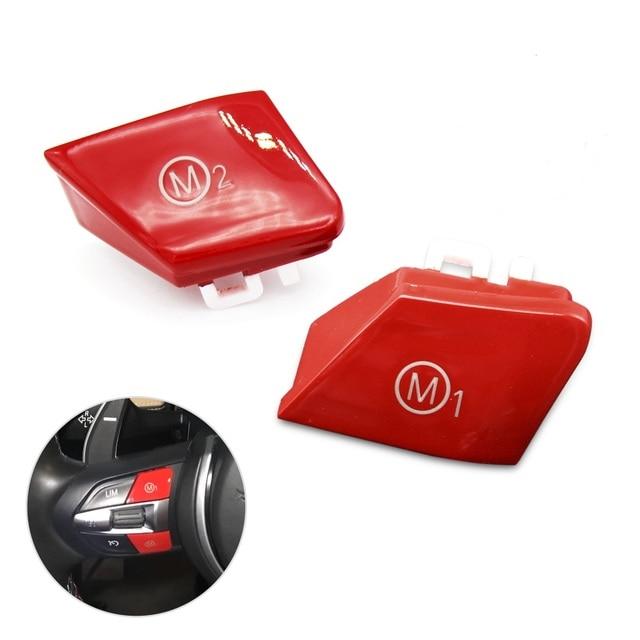 Cubierta de repuesto para volante de coche, pieza personalizada, color rojo, botón de interruptor, para BMW Serie M, M2, M3, M4, F80, F82, F83, GTS, 3,0 T, 2 uds.
