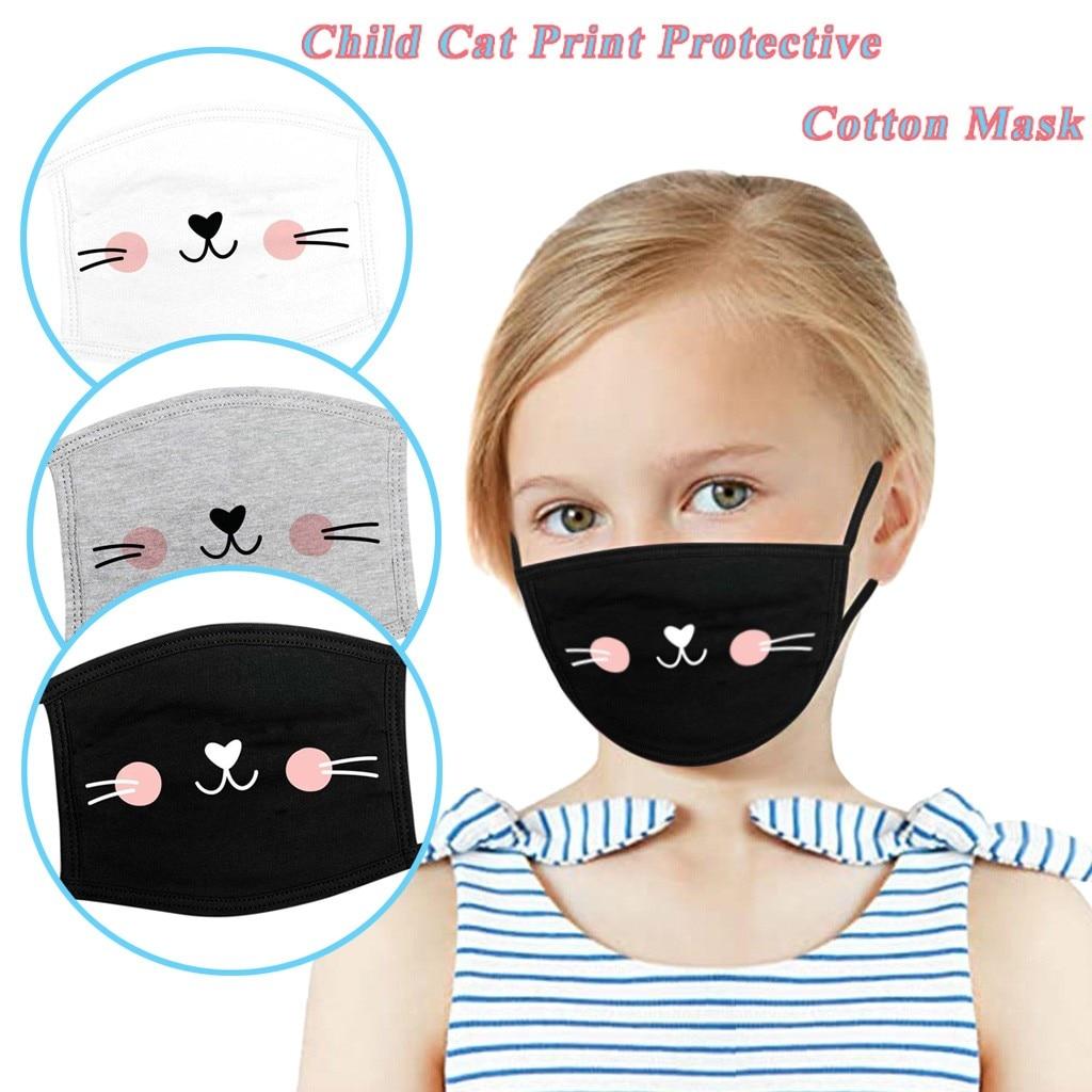 3 шт., детская Защитная маска для лица, фильтр Earloop, модная, с принтом кота, ветрозащитная, хлопковая маска, mascarilla reutilzable