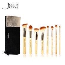 Jessup Brushes 8 uds, Juego de cepillos de maquillaje profesionales de bambú de belleza, bolsas de cosméticos T139 & CB001