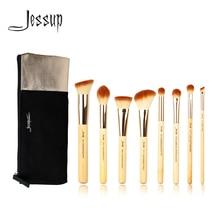 Jessup Pennelli 8pcs di Bellezza di Bambù Pennelli Trucco Professionale Set di Cosmetici Borse T139 e CB001