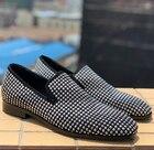 Новое поступление вечерние мужские туфли дышащие повседневные мужские лоферы ручной работы с белыми кристаллами удобные мужские свадебн... - 1