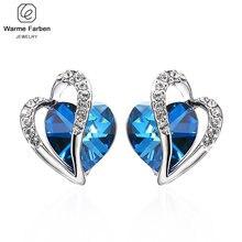 Украшенные кристаллами Сваровски женские серьги синее сердце