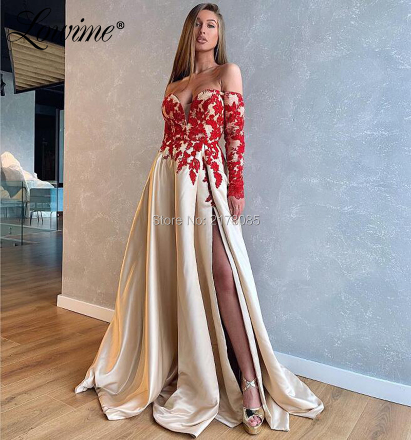 Dubai Design Arabic Sexy Prom   Dresses     Evening     Dress   2020 Slit Long Sleeves Red Lace Applique Champagne Women Formal Prom   Dresses