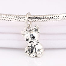 Authentic 925 Sterling Silver Black Enamel Bulldog Puppy Pendant Hanging Bead Charm for Women Bracelet Bangle DIY Jewelry(China)