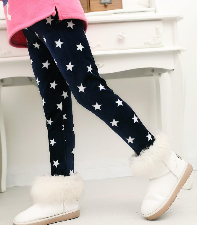 VEENIBEAR/осенне-зимние штаны для девочек, бархатные плотные теплые леггинсы для девочек, детские штаны, одежда для девочек на зиму, От 2 до 7 лет - Цвет: zangqing xingxing
