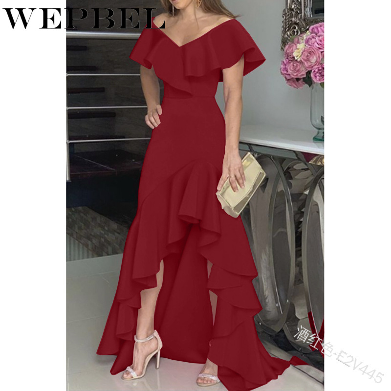 WEPBEL Summer Casual Fashion Floor-Length Dress Women Solid V-Neck Backless Sleeveless Ruffles Sleeve Irregular Hem Dress