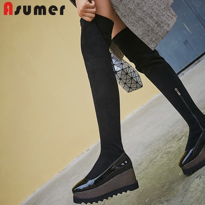 ASUMER Boots Genuine-Leather Over-The-Knee Zipper Fashion New Stretch Slim Platform Round-Toe