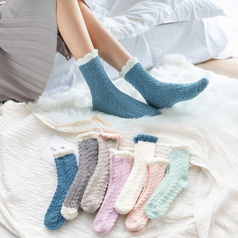 1 Pair Of Coral Plush Socks Women's Plush And Thickened Sleeping Terry Socks Autumn And Winter Floor Thickened Warm Socks