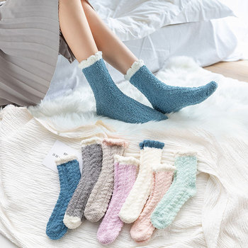 1 Pair of Coral Plush Socks Women's and Thickened Sleeping Terry Autumn Winter Floor Warm - discount item  30% OFF Women's Socks & Hosiery