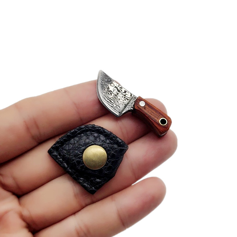 Swayboo brelok nóż kuchenny mały Mini przenośny EDC naprawiono ostrze prawdziwy list nóż wzór akcesoria prezent rzemiosła