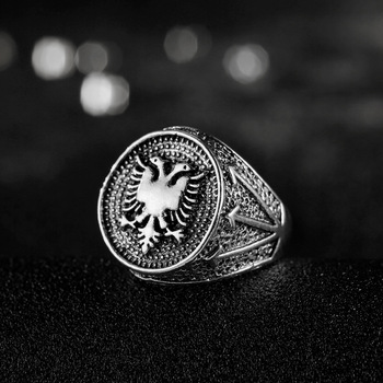 CHENGXUN European Albania Flag Logo Ring Double Headed Eagle Ring Men Jewelry Ancient Silver Vintage Ring Party Birthday Gift 1