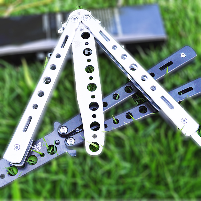 440C Steel Training Butterfly Knife Cs Go Comb Balisong Butterfly In Knife No Edge Dull Blade Folding Knives For Combat Fight image